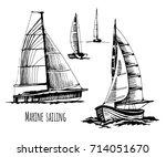 sea yachts. active people.... | Shutterstock .eps vector #714051670