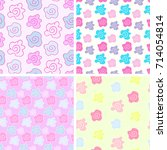 doodle flower pattern vector   | Shutterstock .eps vector #714054814