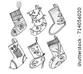 set of christmas stockings.... | Shutterstock .eps vector #714056020