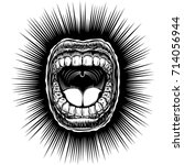 open mouth with bared teeth and ... | Shutterstock .eps vector #714056944