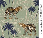 leopards and palm trees... | Shutterstock .eps vector #714057268