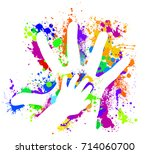 hand of a child in the parent... | Shutterstock .eps vector #714060700