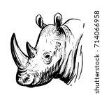 Sketch Of Rhinoceros. Hand...
