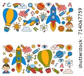 knowledge imagination fantasy... | Shutterstock .eps vector #714067759