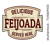 feijoada sign or stamp on white ... | Shutterstock .eps vector #714069433