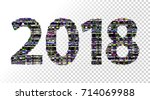 glitch new year sign. 2018... | Shutterstock .eps vector #714069988
