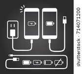 white smart phone charge icons...