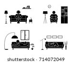 stick figure resting at home...   Shutterstock .eps vector #714072049