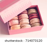 vintage french macarons in a... | Shutterstock . vector #714073120