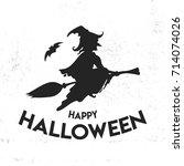 witch on broom. happy halloween ... | Shutterstock .eps vector #714074026