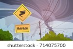 road sign of tornado danger...   Shutterstock .eps vector #714075700