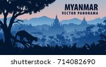 vector panorama of myanmar with ... | Shutterstock .eps vector #714082690