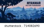 vector panorama of myanmar with ...   Shutterstock .eps vector #714082690