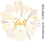 hello fall hand written... | Shutterstock .eps vector #714087100