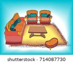 vector sketch furniture project ... | Shutterstock .eps vector #714087730