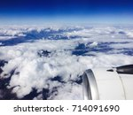 airplane view from passenger... | Shutterstock . vector #714091690