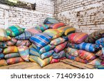 colorful bags used in the...   Shutterstock . vector #714093610