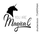 you my unicorn inscription... | Shutterstock .eps vector #714095464