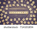 excellence word wood block on... | Shutterstock . vector #714101854
