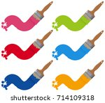 six different colors on big...   Shutterstock .eps vector #714109318