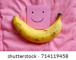ripped banana  close up smile... | Shutterstock . vector #714119458