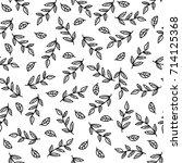 doodle sketch leaf seamless... | Shutterstock .eps vector #714125368