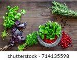 Food Set With Various Herbs An...