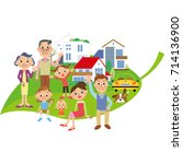 three generations family and... | Shutterstock .eps vector #714136900