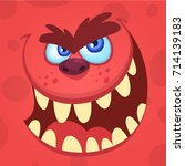 cartoon angry monster. vector... | Shutterstock .eps vector #714139183