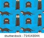 cute otter cartoon seamless...   Shutterstock .eps vector #714143044