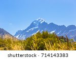 glacier on top of mt cook and... | Shutterstock . vector #714143383