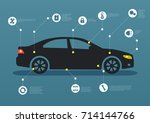 infographic template with car... | Shutterstock .eps vector #714144766
