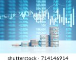 graph coins stock finance and... | Shutterstock . vector #714146914