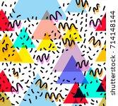 geometric memphis postmodern... | Shutterstock .eps vector #714148144