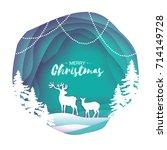 paper cut deer couple in snowy... | Shutterstock .eps vector #714149728