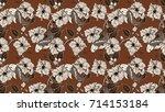 koi fish and hibiscus flower... | Shutterstock . vector #714153184