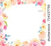 cute watercolor flower frame... | Shutterstock . vector #714157750