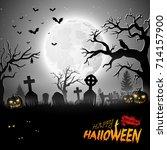 cartoon halloween background | Shutterstock . vector #714157900