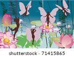 illustration with fairy on lily ... | Shutterstock .eps vector #71415865