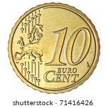 Ten Euro Cent On White...