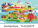 japan travel poster  tokyo... | Shutterstock .eps vector #714165079