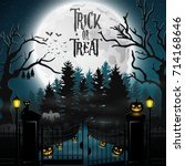 halloween background with... | Shutterstock . vector #714168646