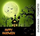 scary church with bats hanging... | Shutterstock . vector #714168700