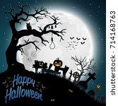 halloween night background | Shutterstock . vector #714168763