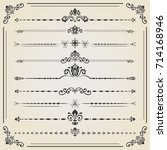 vintage set of decorative... | Shutterstock . vector #714168946