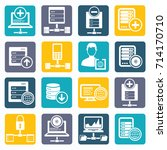 database and network icon set... | Shutterstock .eps vector #714170710