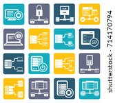 database and network icon set... | Shutterstock .eps vector #714170794