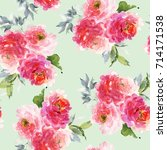 seamless summer pattern with... | Shutterstock . vector #714171538