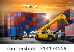 forklift handling container box ... | Shutterstock . vector #714174559