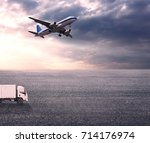 wide skies and wide asphalt... | Shutterstock . vector #714176974